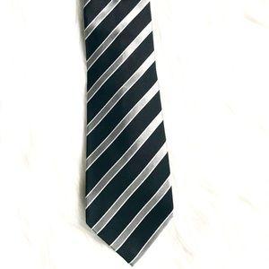 Banana Republic 100% Silk Gray/Black Striped Tie
